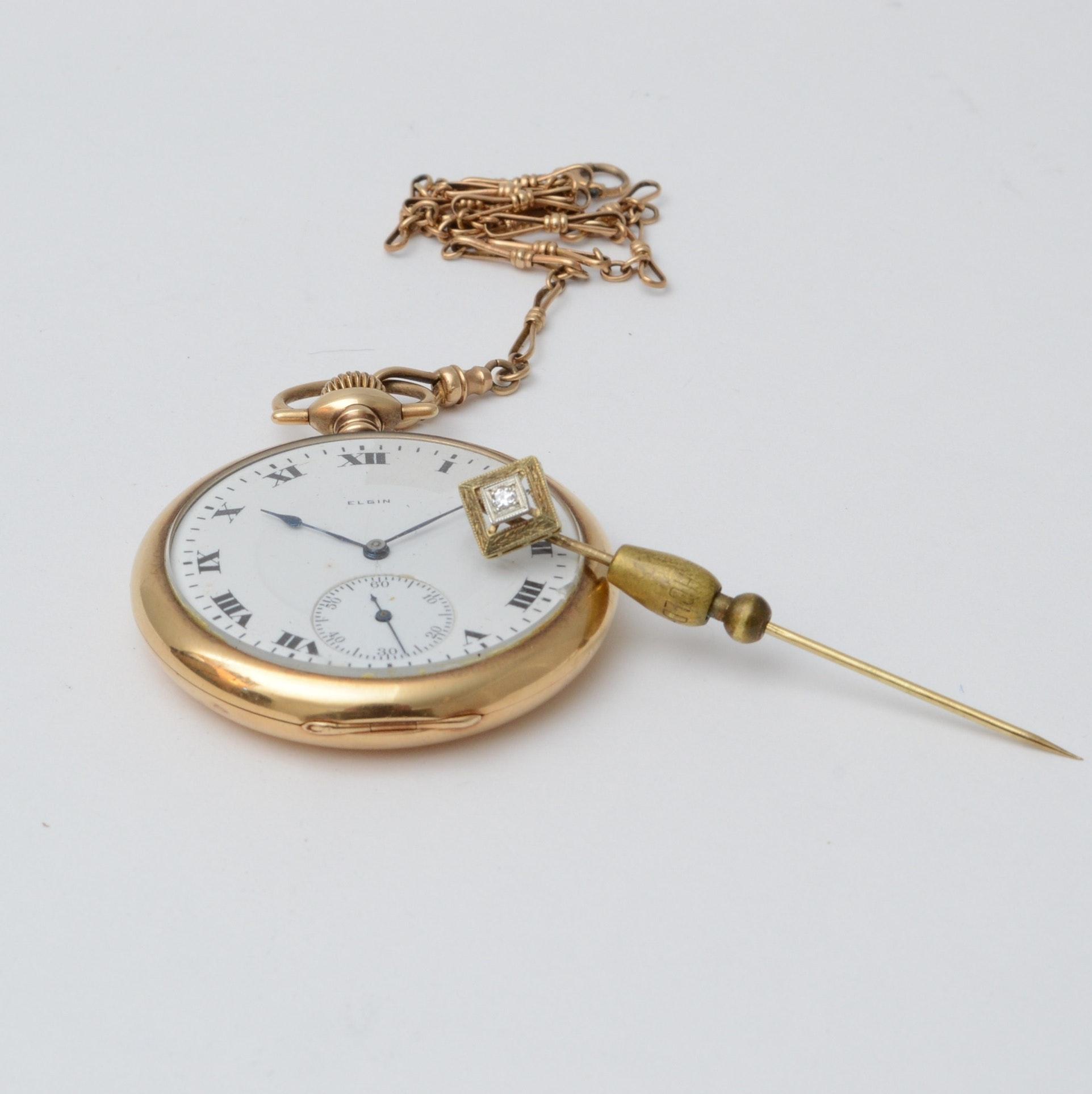 14K Elgin Pocket Watch, 10K Gold Fob and 14K Diamond Stick Pin