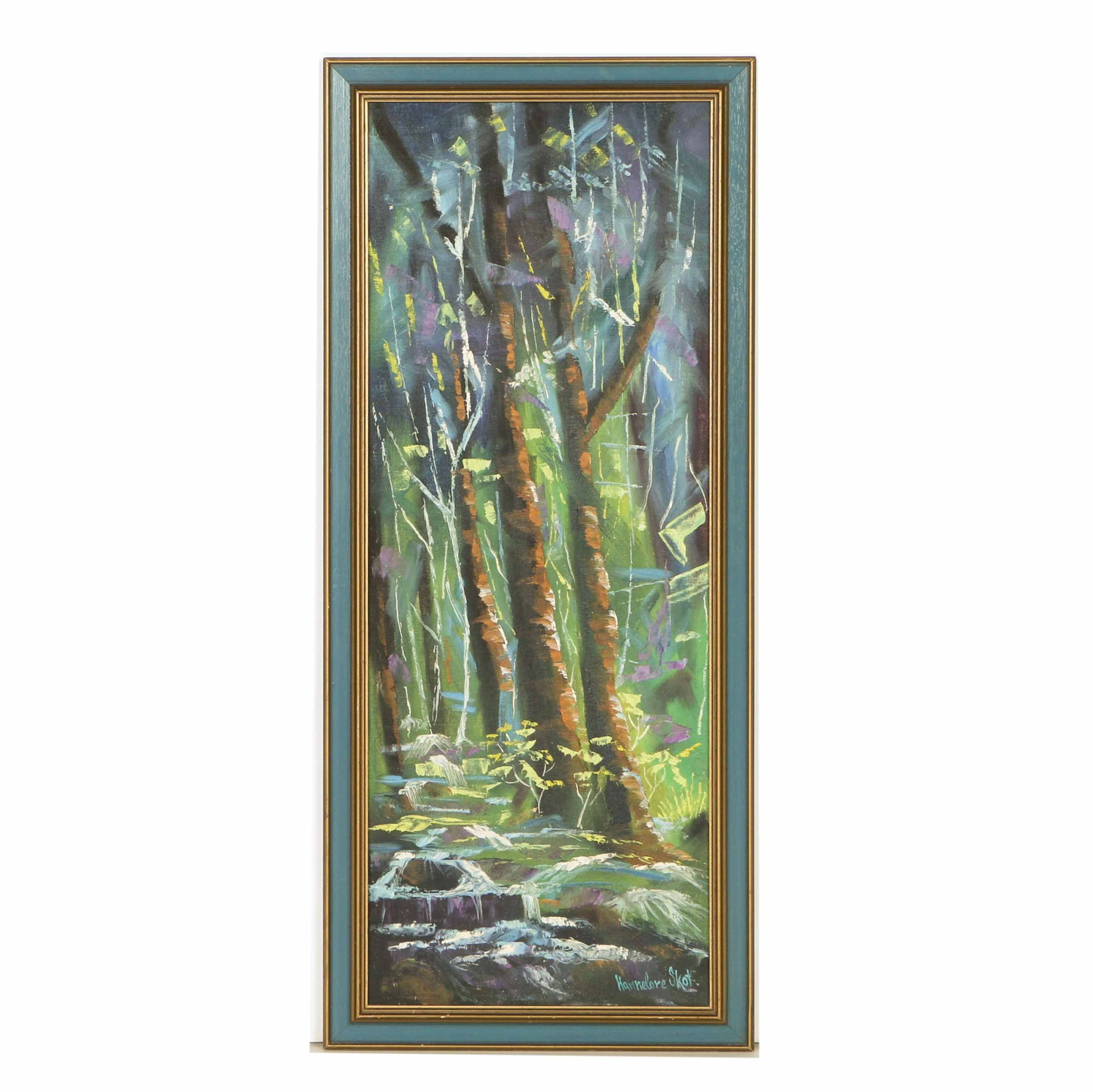 Hannelore Skot Oil Painting on Canvas Board of a Tree Lined Stream