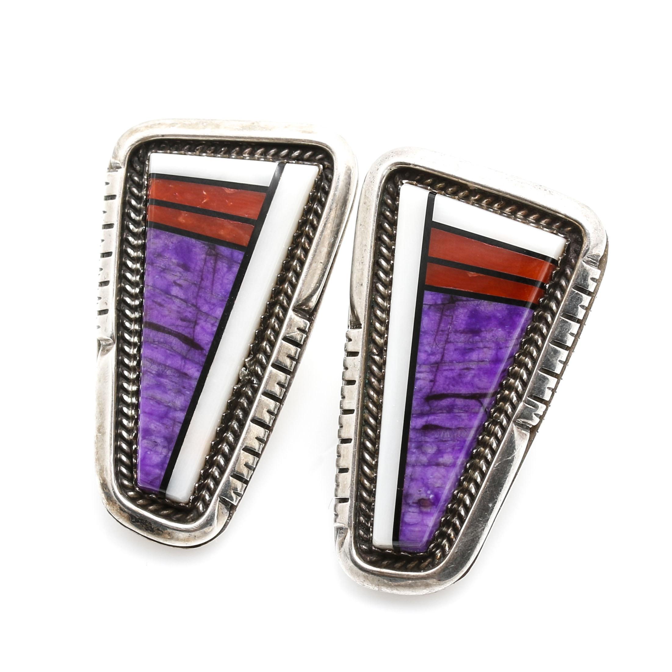 Navajo Style Sterling Silver Gemstone Mosaic Inlay Earrings