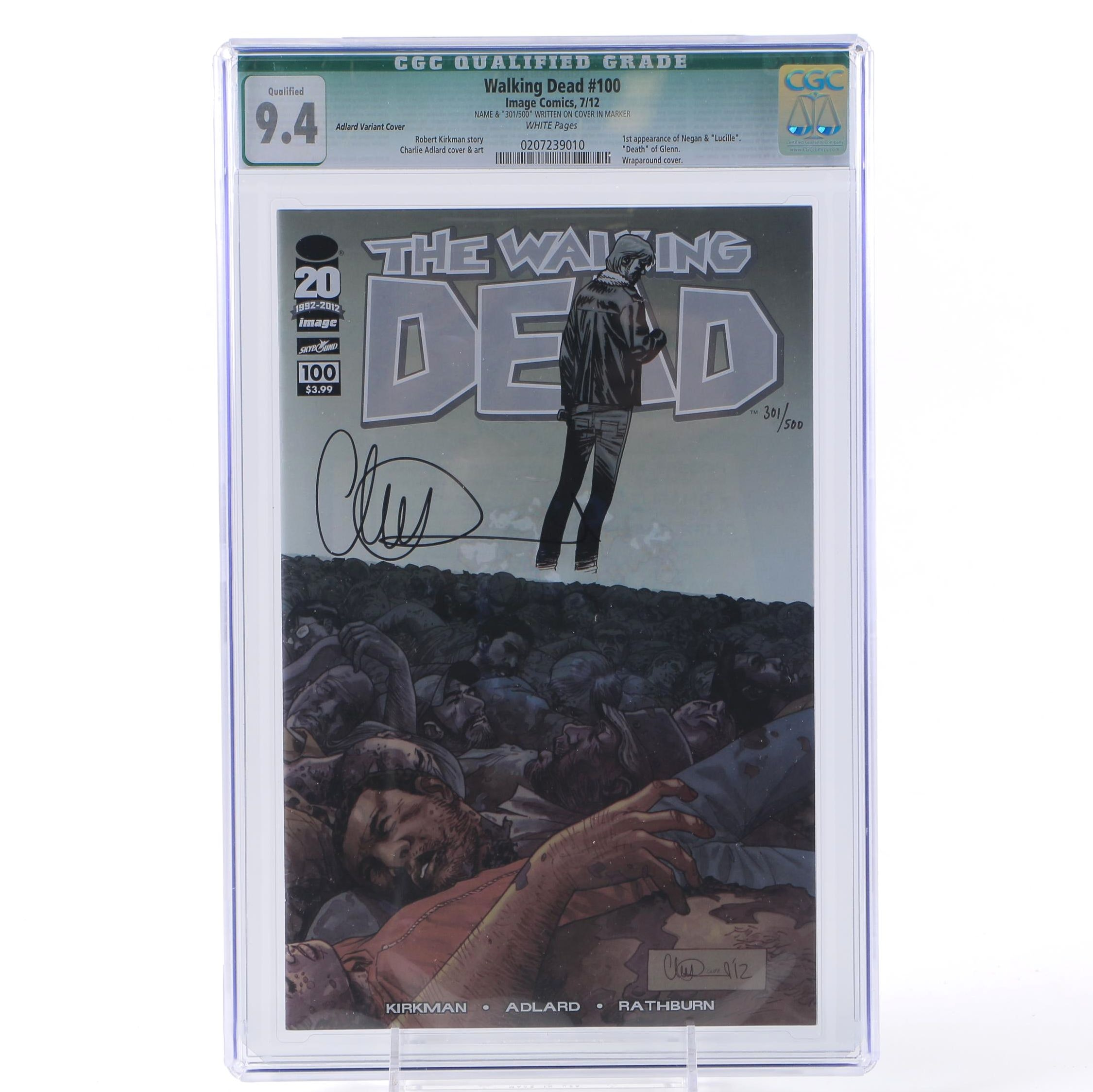 """Charlie Adlard Signed and Graded """"The Walking Dead"""" #100 Cover H"""