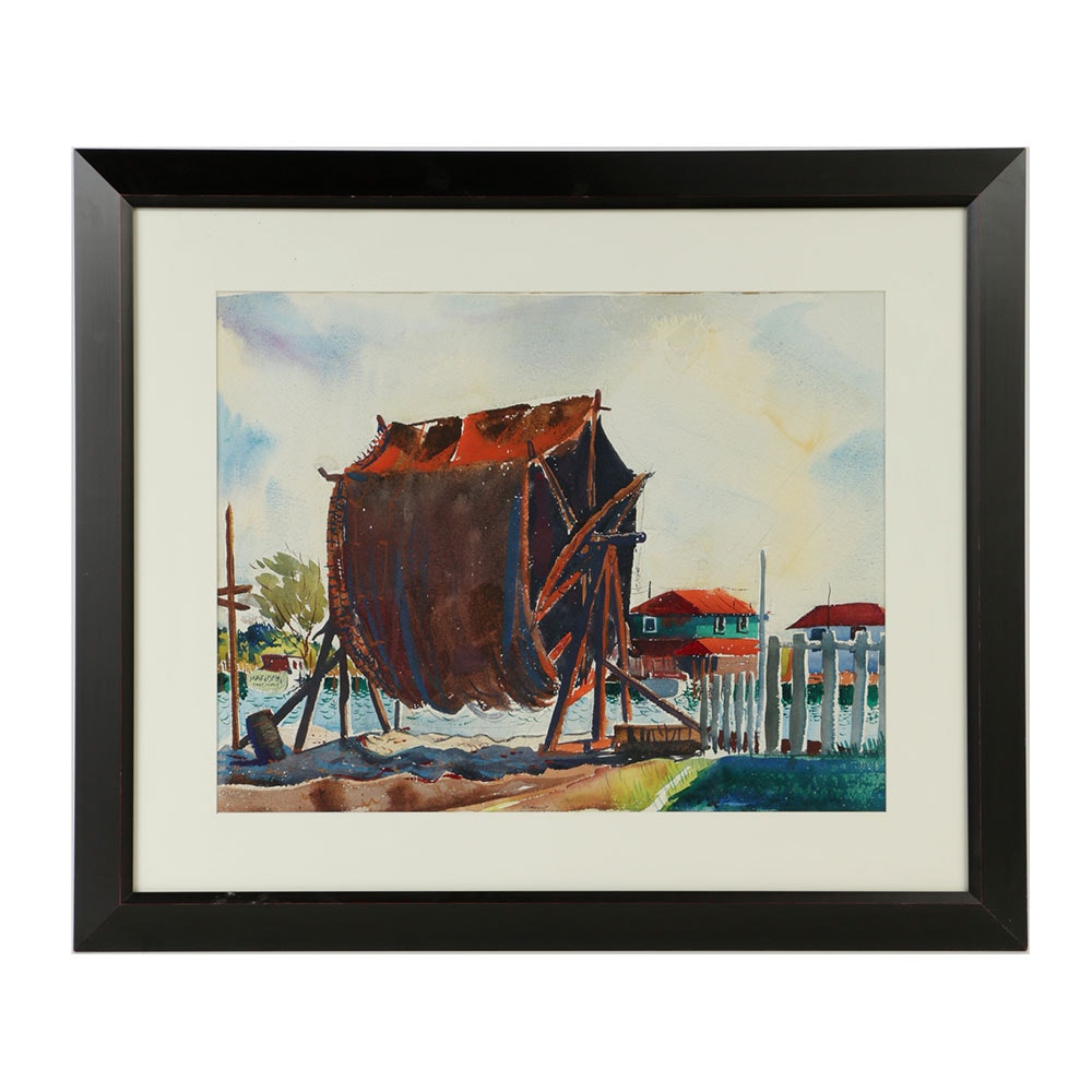 "Reginald L. Grooms Watercolor Painting ""Drying Nets"""