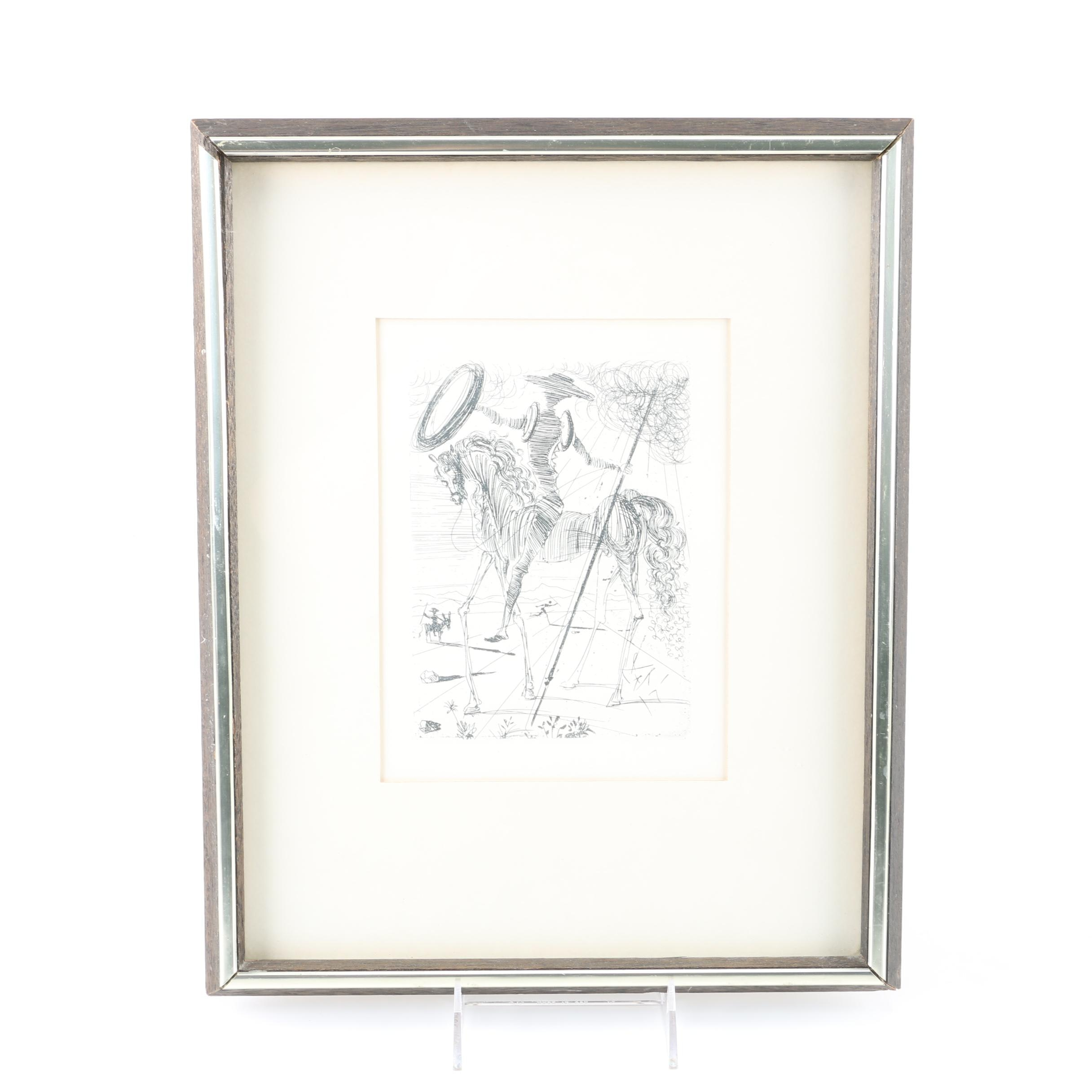"After Salvador Dali Second Edition Restrike Etching ""Don Quixote"""