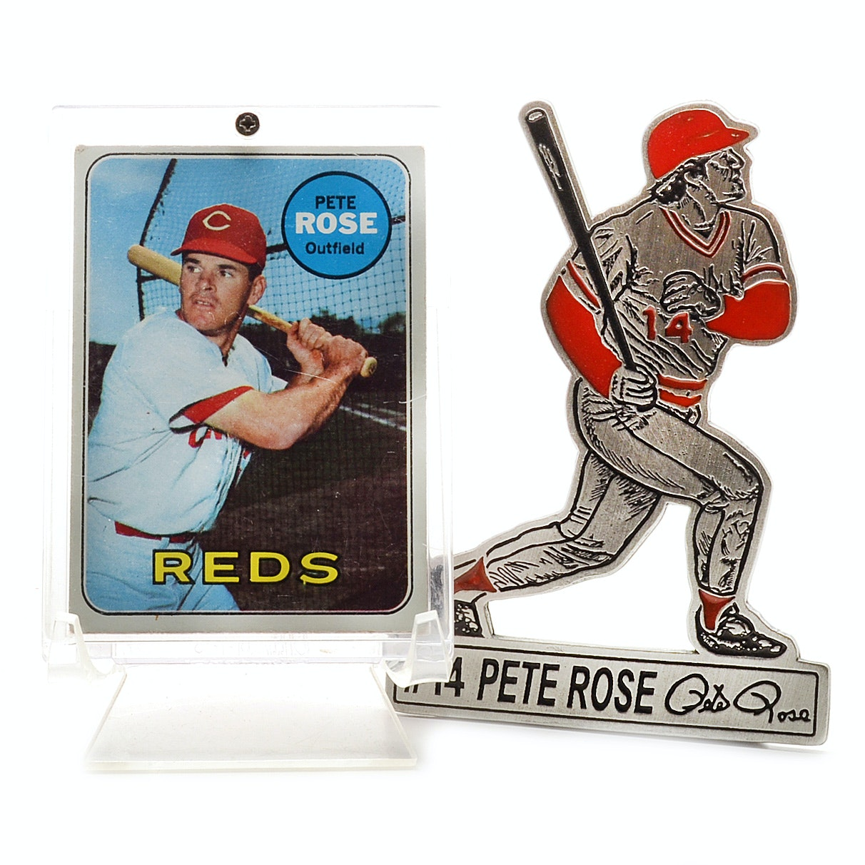 1969 Pete Rose Baseball Card and Pewter Statue