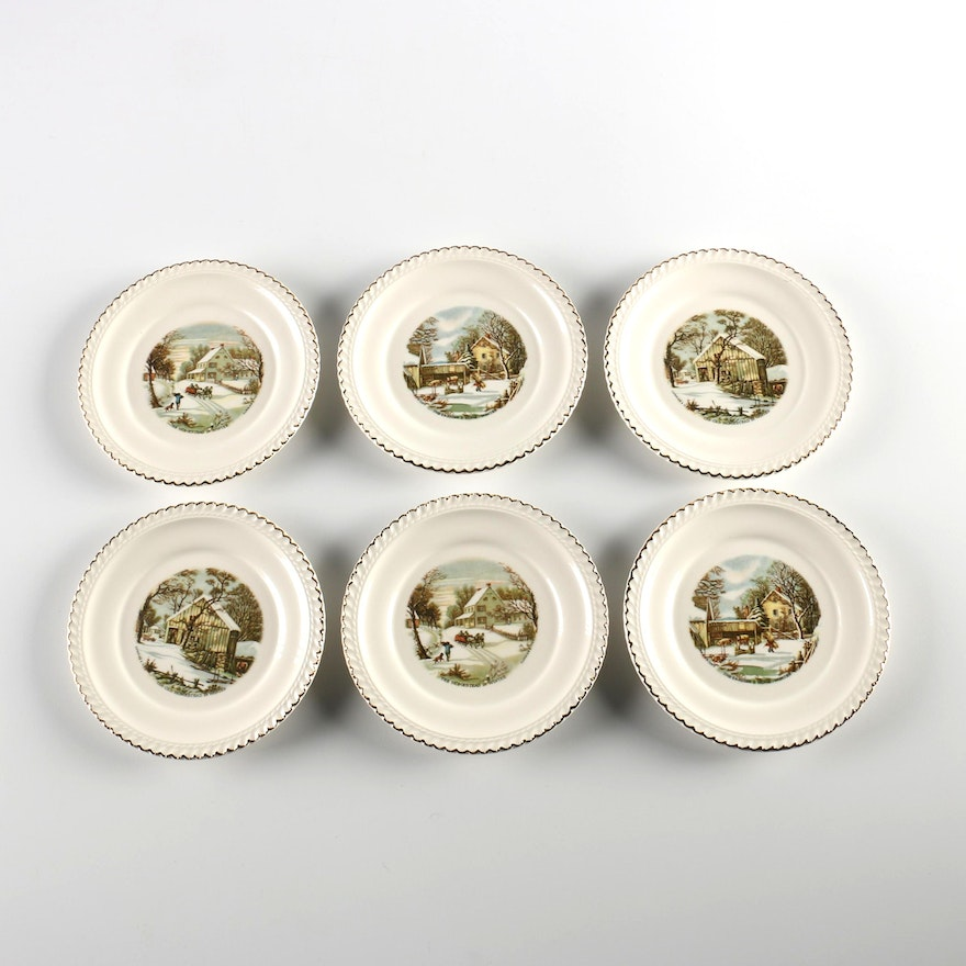Currier & Ives Harkerware China Plates : EBTH