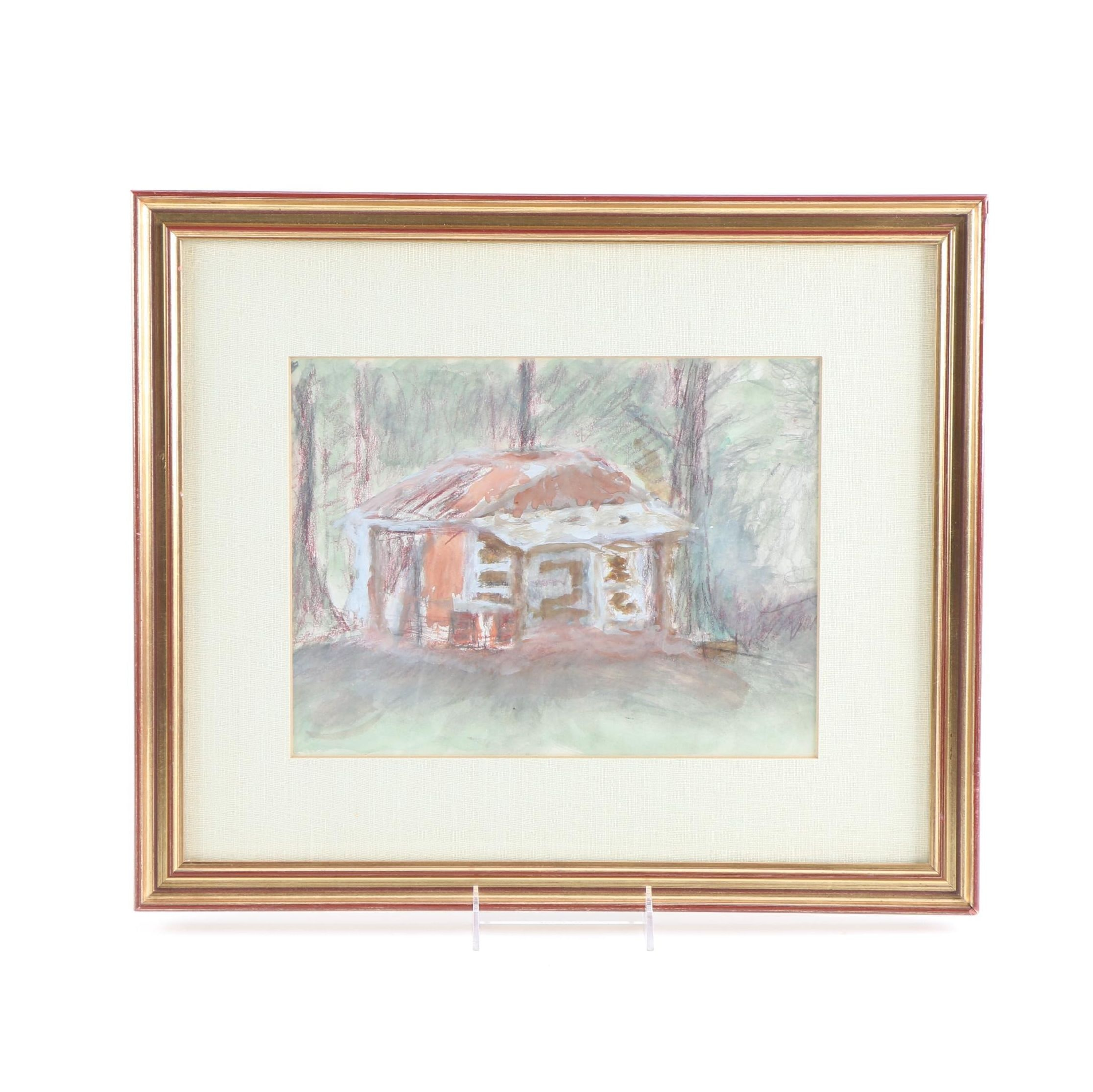 Mixed Media on Paper of a Cabin