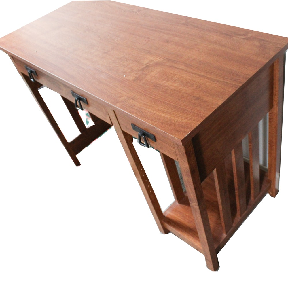 Oak Veneer Mission Style Computer Desk