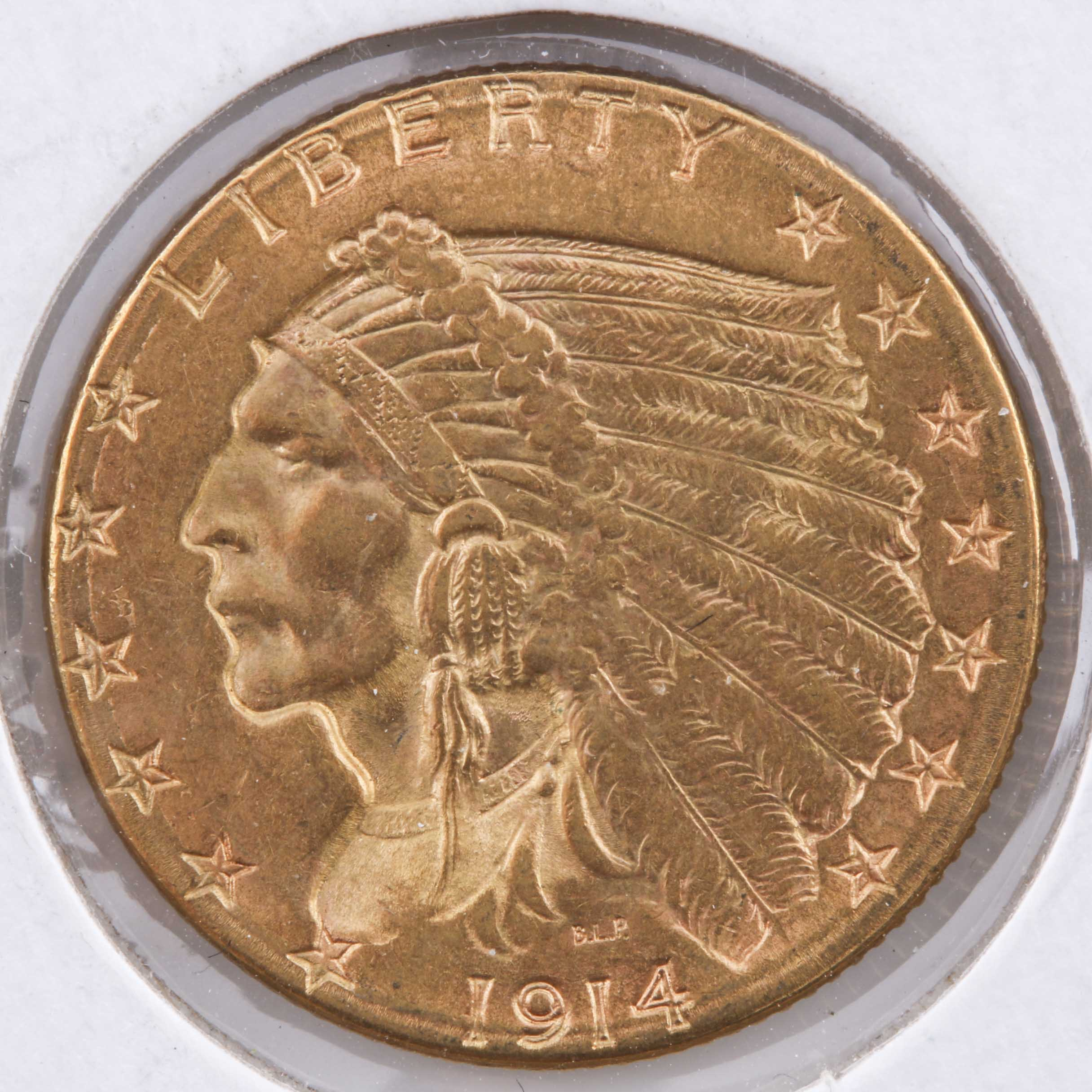 1914 D $2 1/2 Indian Head Gold Coin