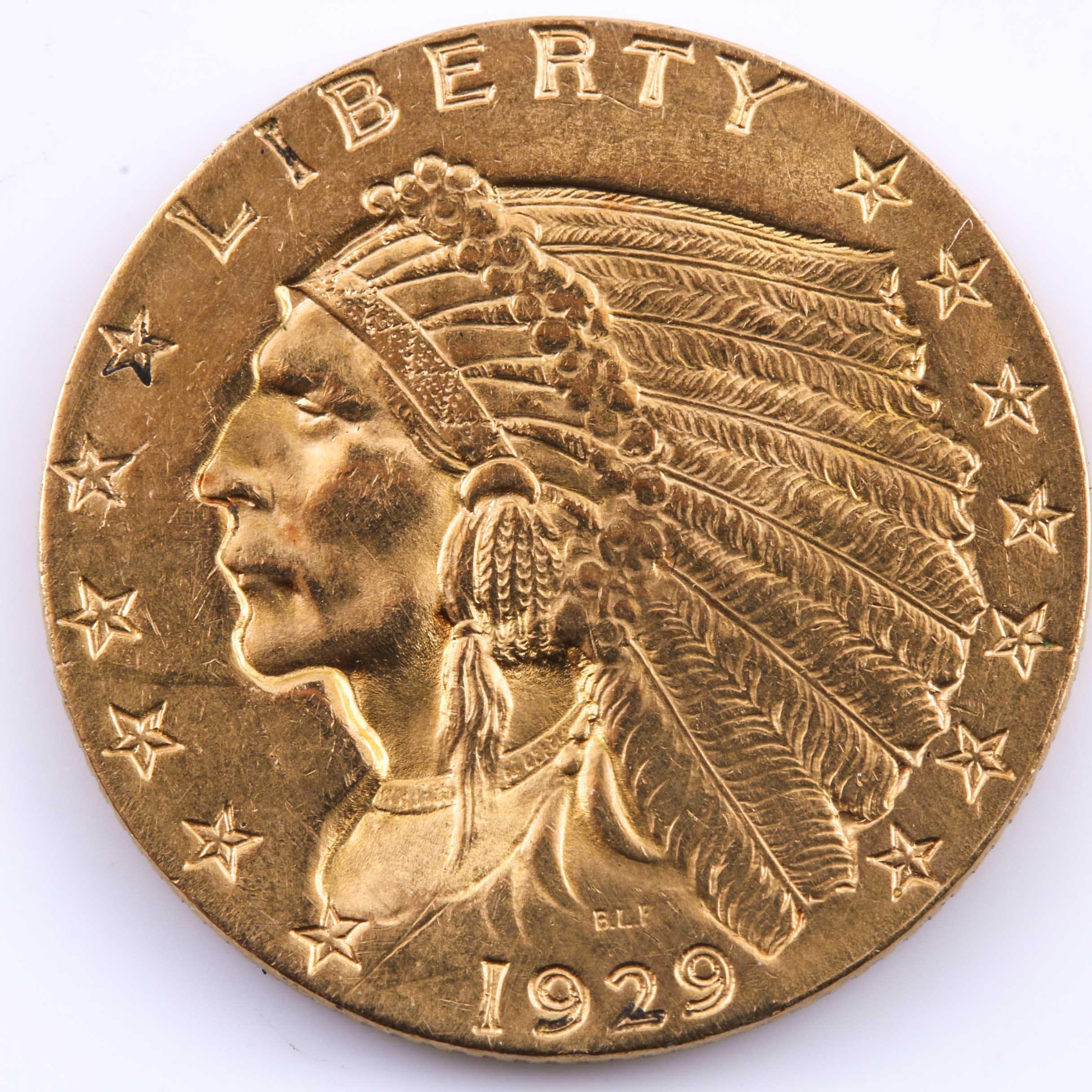 1925 D $2 1/2 Indian Head Gold Coin