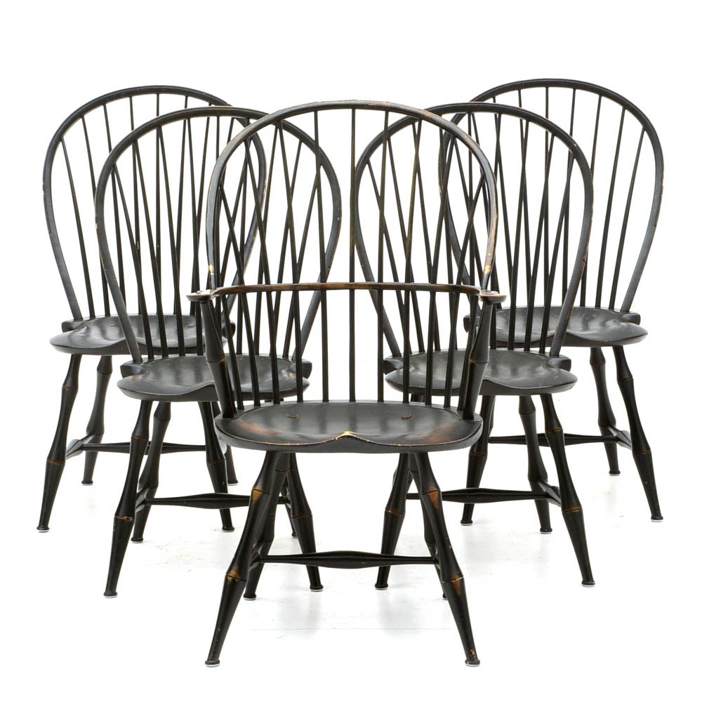 Set Of Five Bow Back Windsor Chairs, D.R. Dimes ...