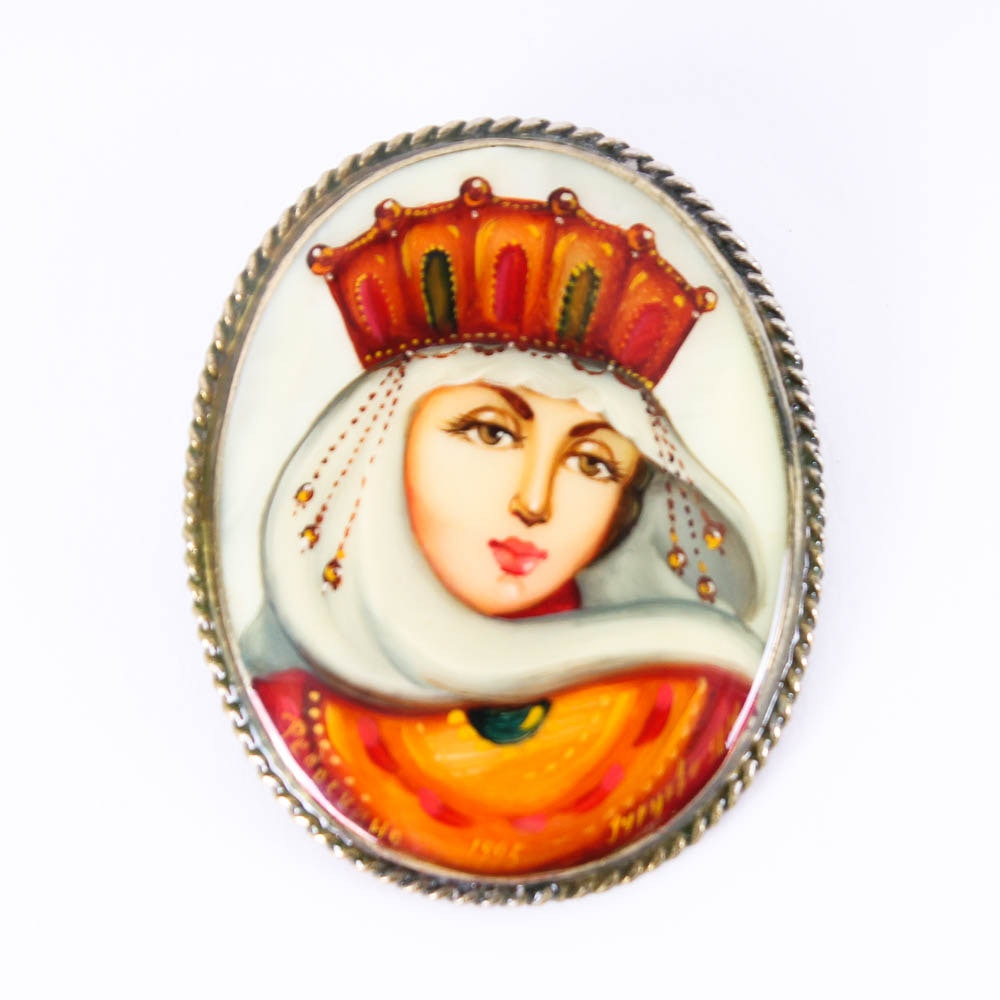 Hand Painted Mother of Pearl Russian Pin