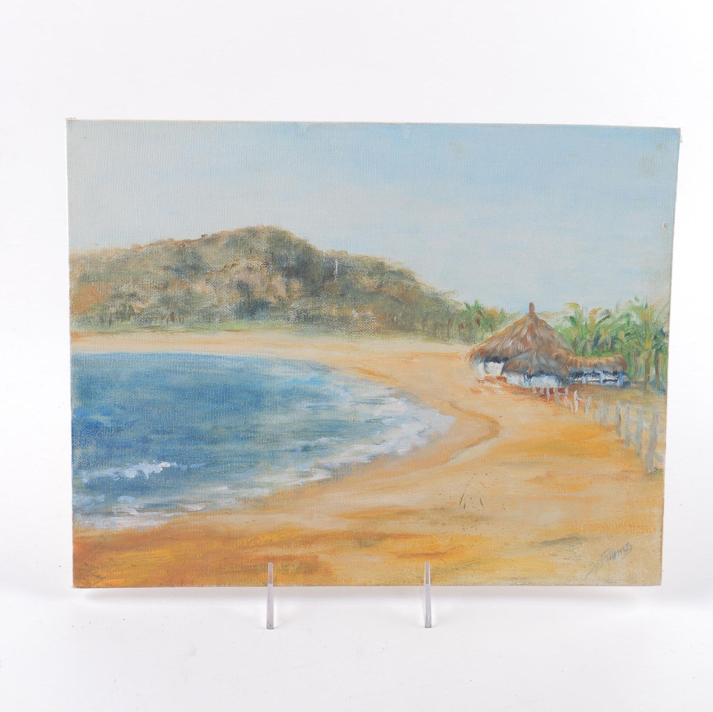 Williams Oil on Canvas of Beach Scene