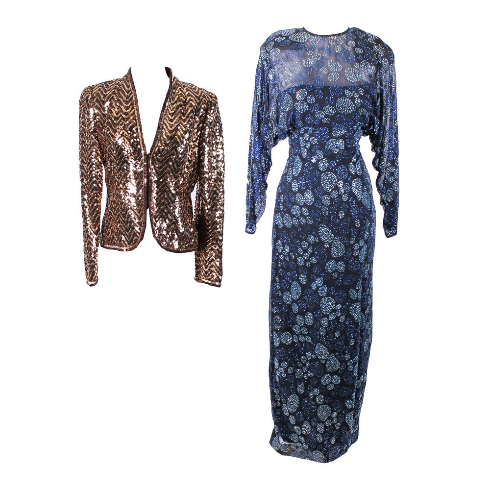 Victor Acosta Evening Dress and a Beaded Jacket