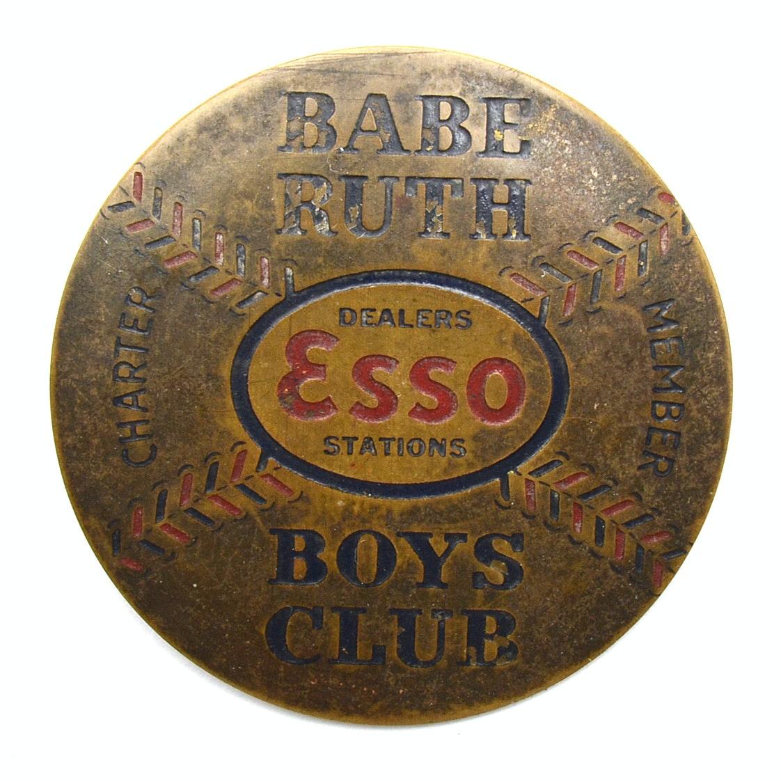 "1930s Babe Ruth ""Boys Club"" Esso Pin"