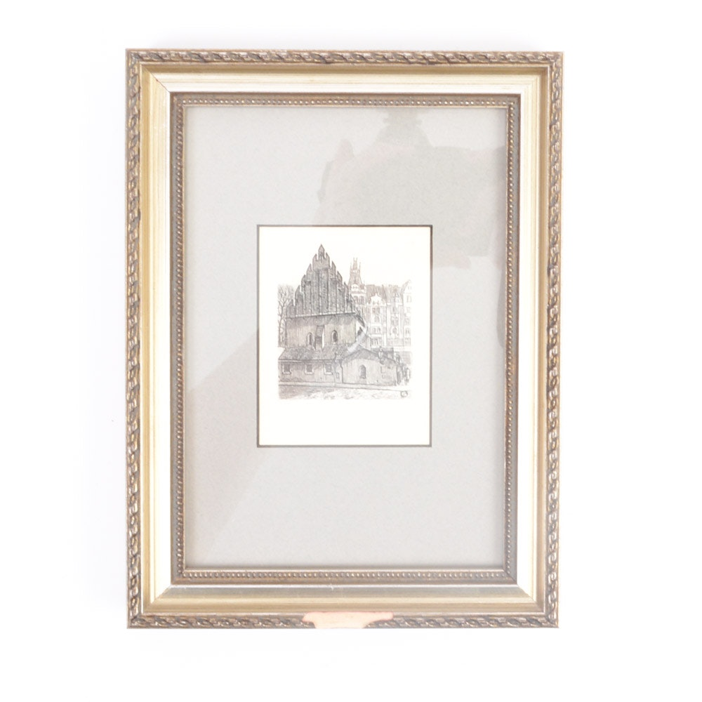 Signed Etching of Building