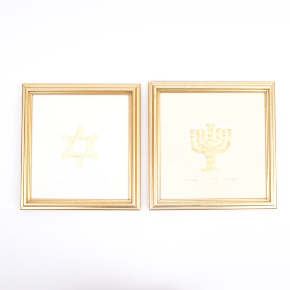 Pair of C. Butler Pendley Embossed Judaica Prints