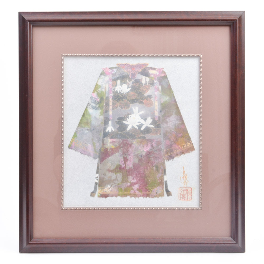 Framed Japanese Collage on Paper