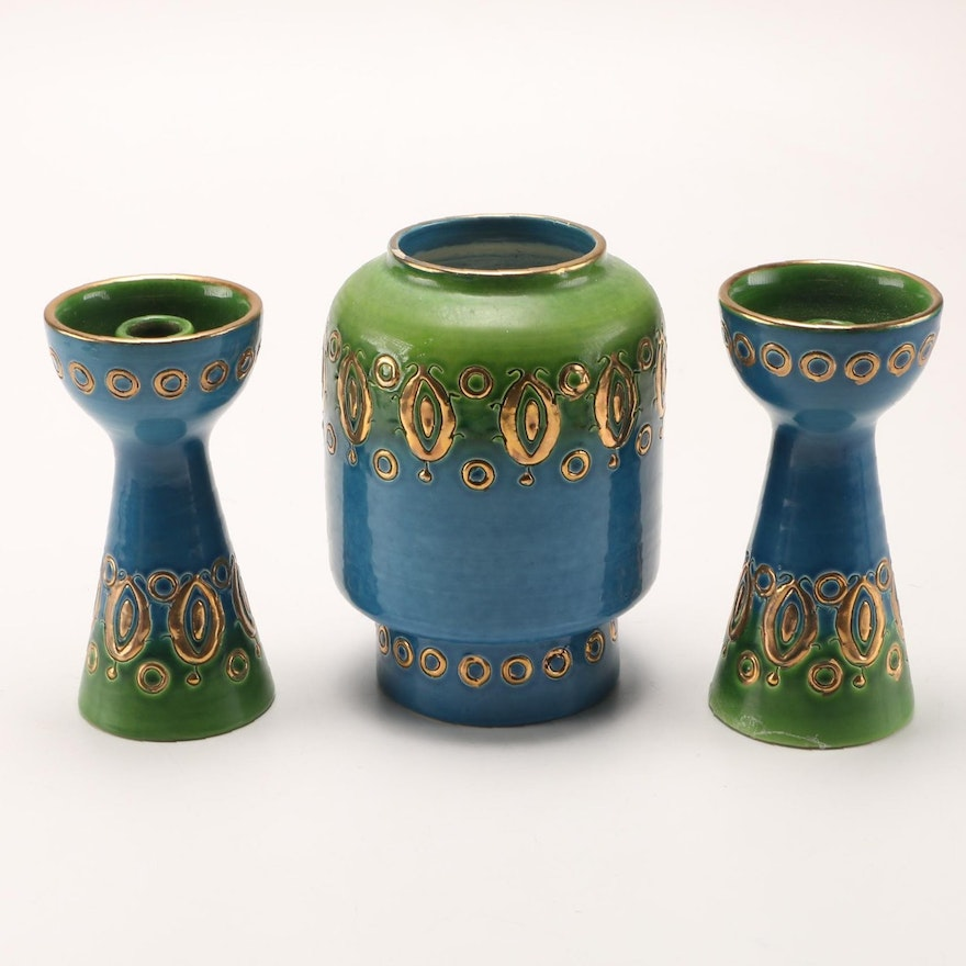 Mid Century Italian Ceramic Candle Holders and Vase
