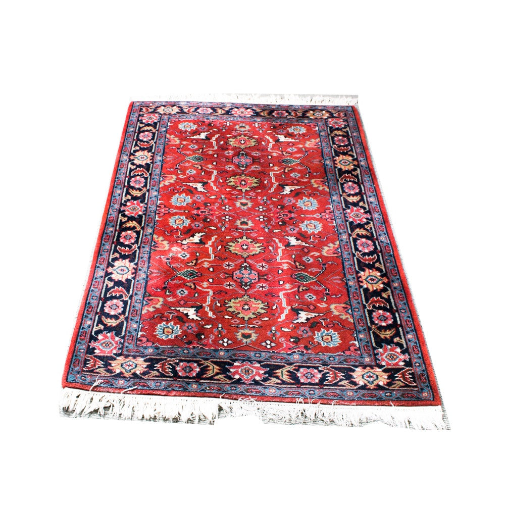 Hand-Knotted Karabakh-Style Wool Area Rug