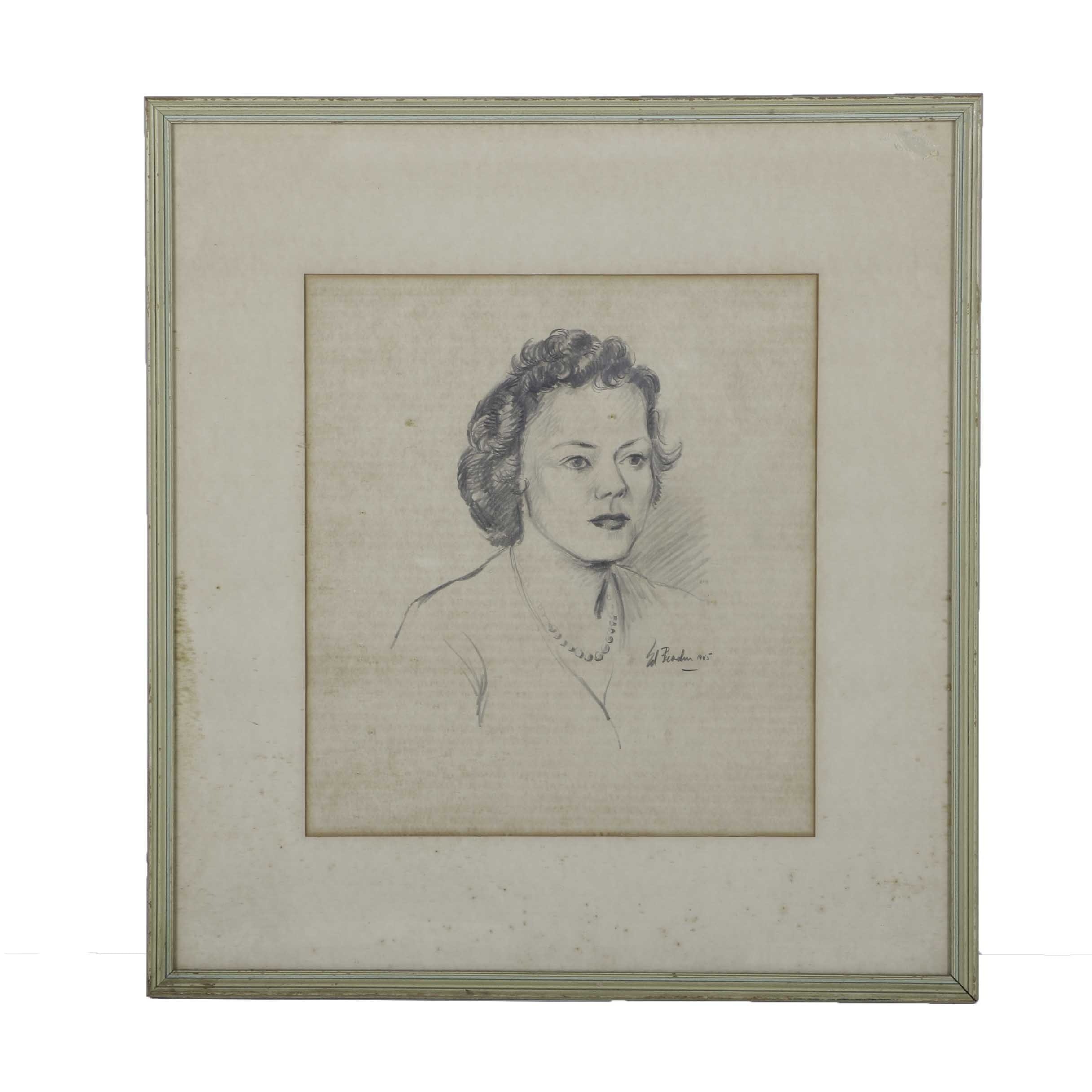 1945 Edward Bearden Graphite on Paper Portrait