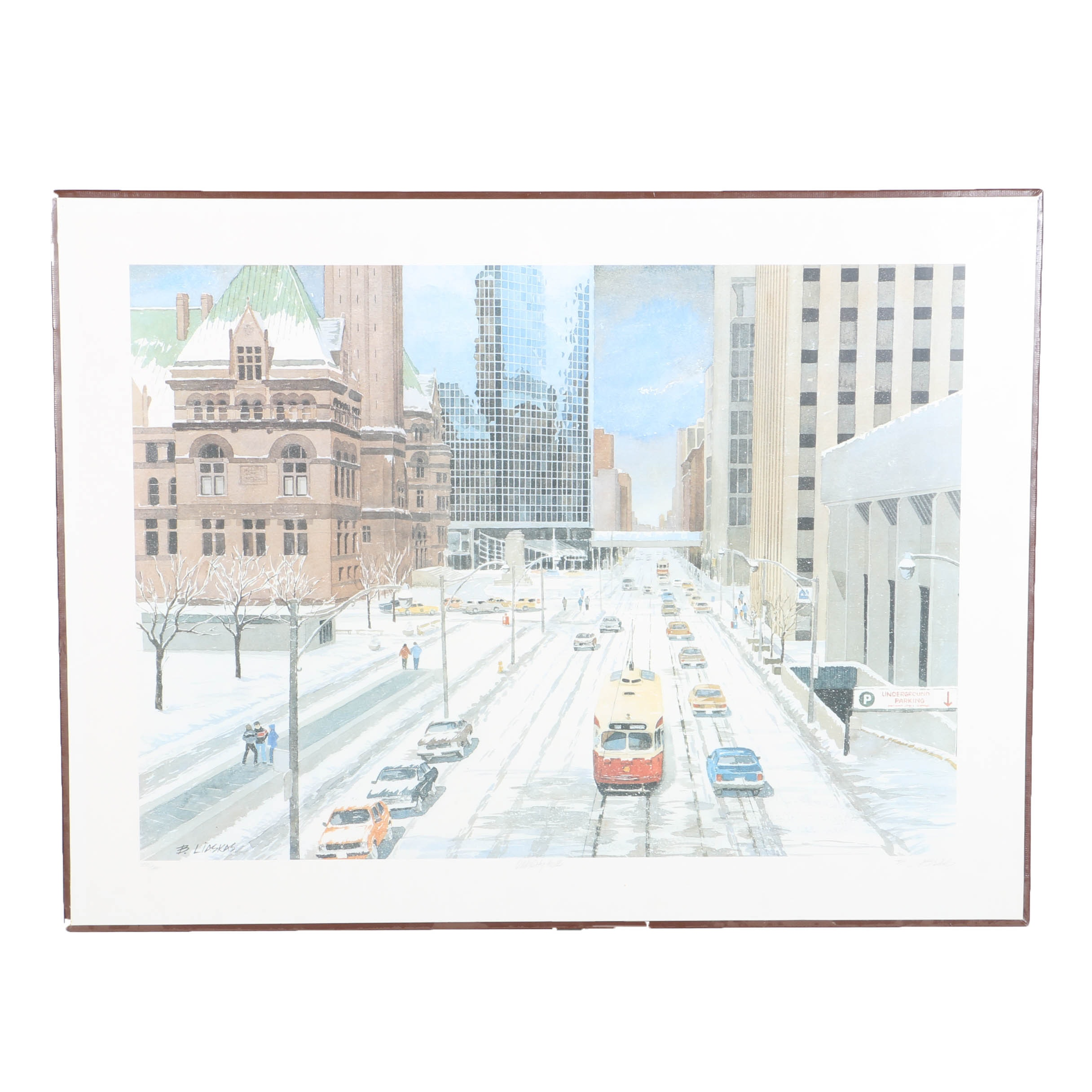 """Signed Offset Lithograph After Basil Liaskas """"Old City Hall"""""""
