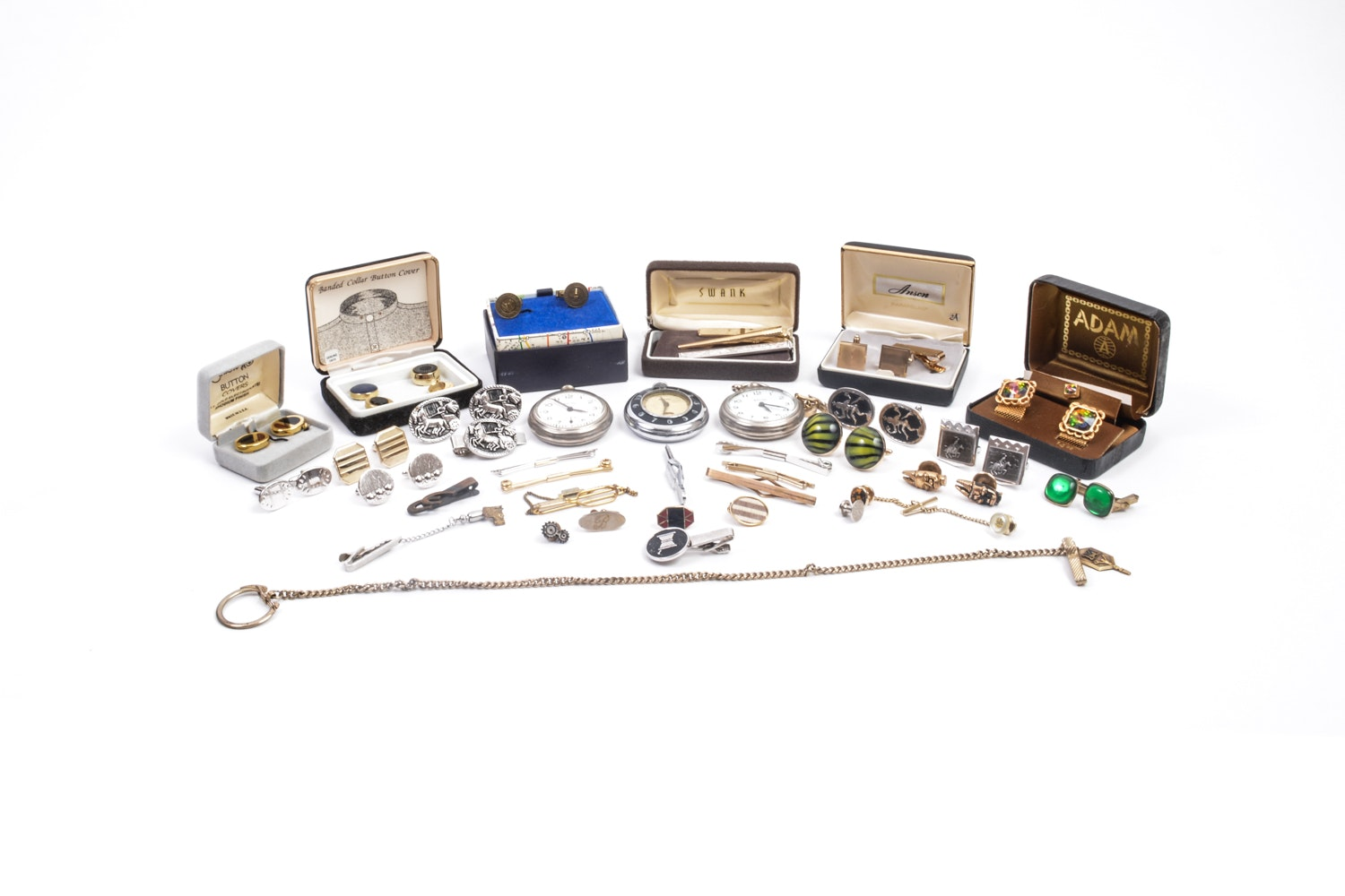 Collection of Men's Cufflinks, Tie Clips, and Pocket Watches