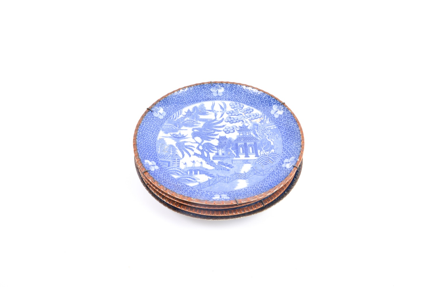 Four Chinese Blue and White Plates with Brown Rim