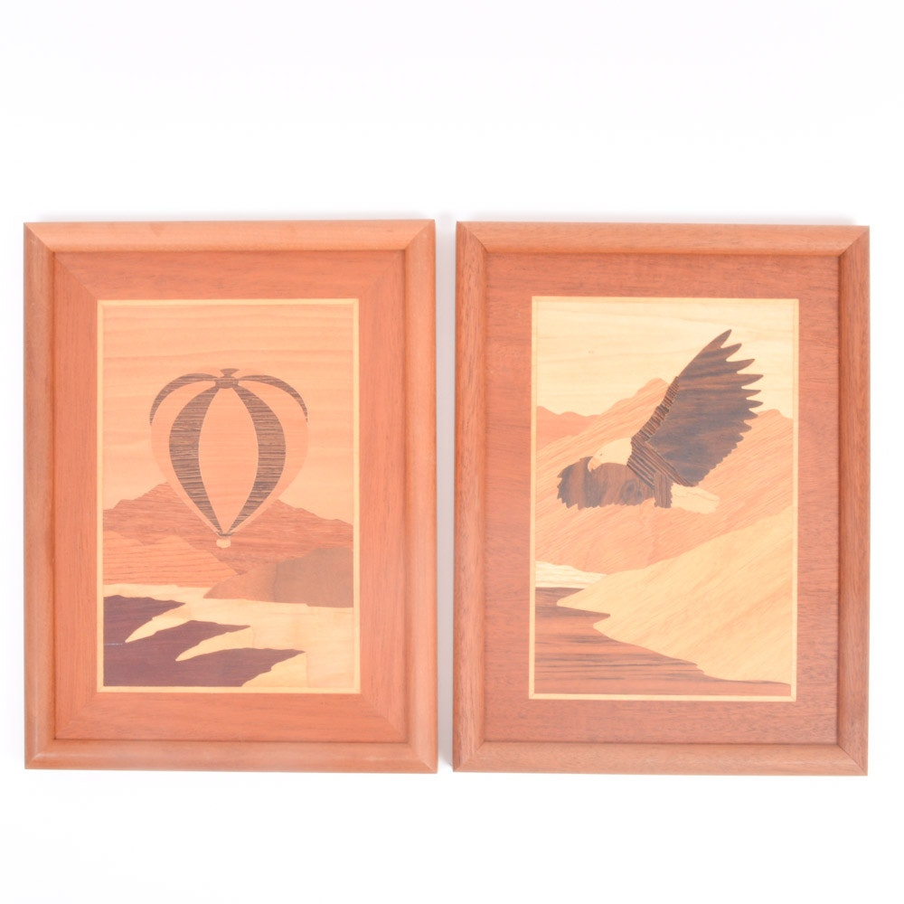 Pair of Marquetry Wall Art Panels
