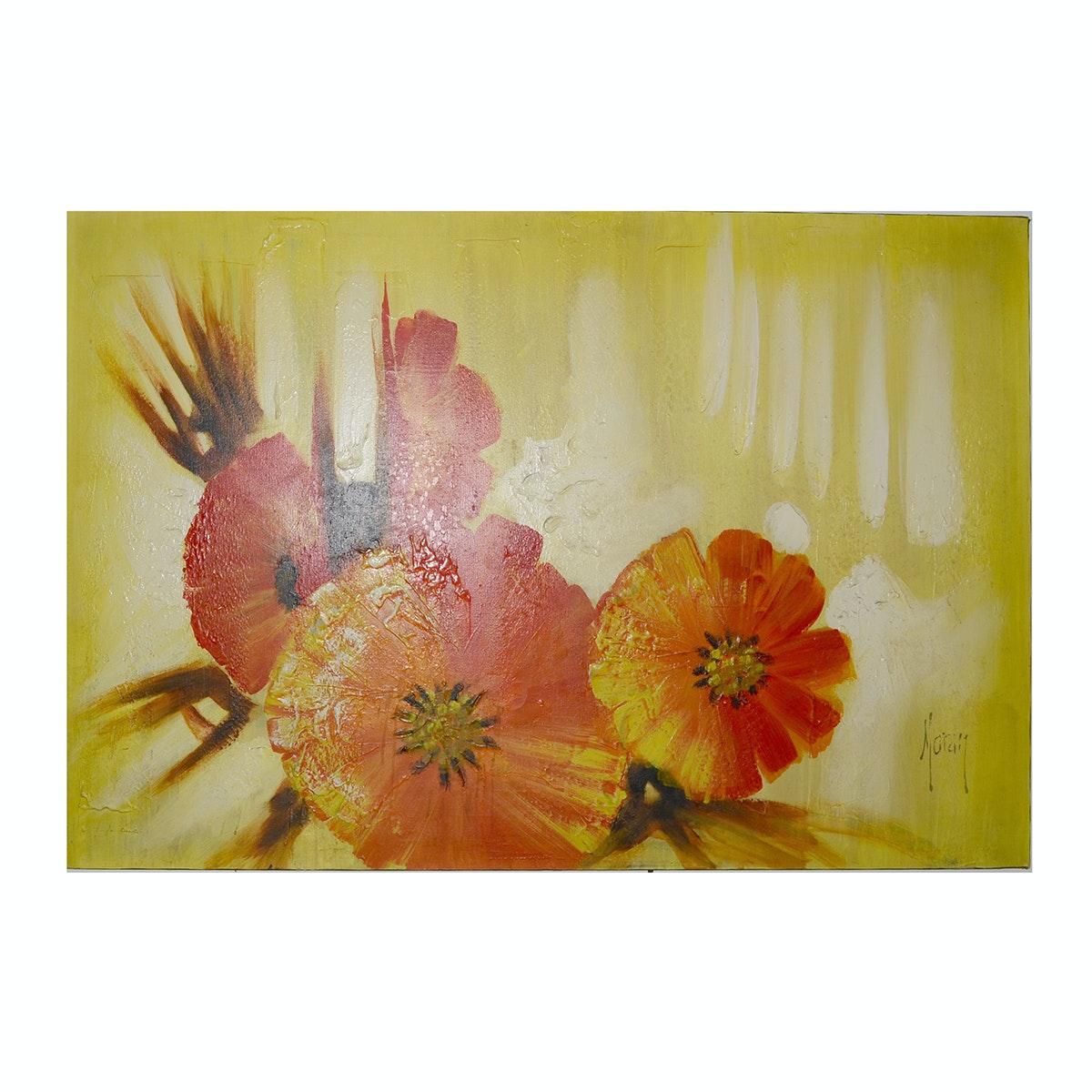 Moran Original Oil Painting of Poppies