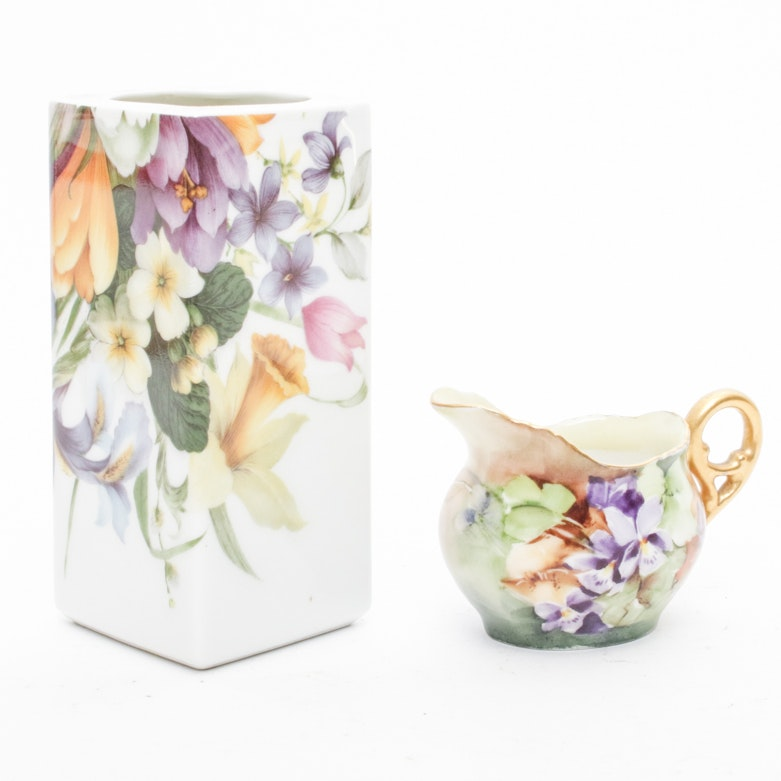 Two Floral Themed Limoges Pieces