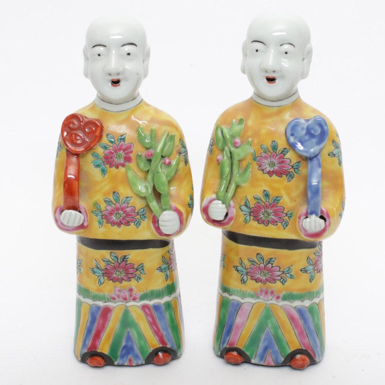 Painted Porcelain Chinese FIgures