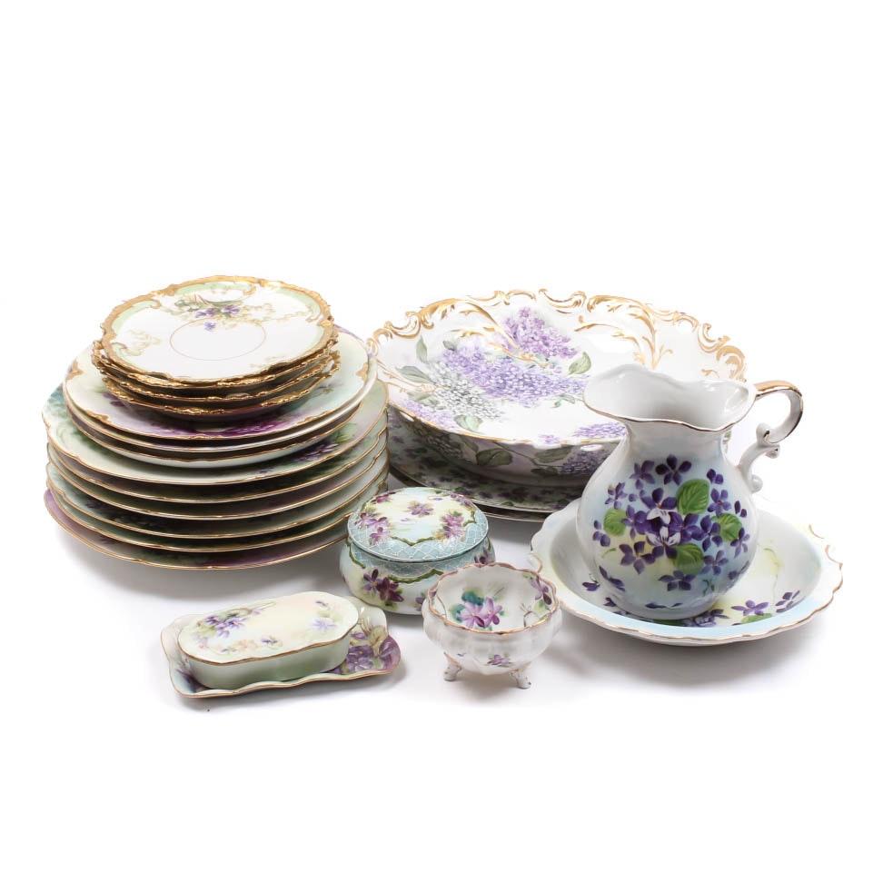 Vintage and Antique Purple Flower Porcelain Collection Including Limoges