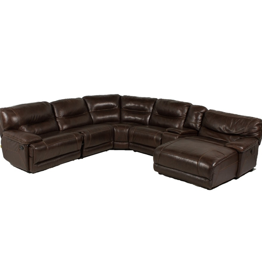 Contemporary Leather Sectional Sofa by Cheers