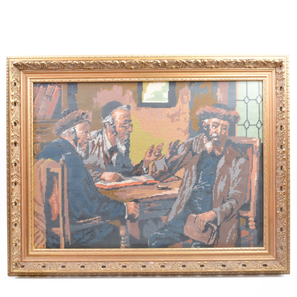 Framed Needlepoint Depicting Jewish Men At A Table