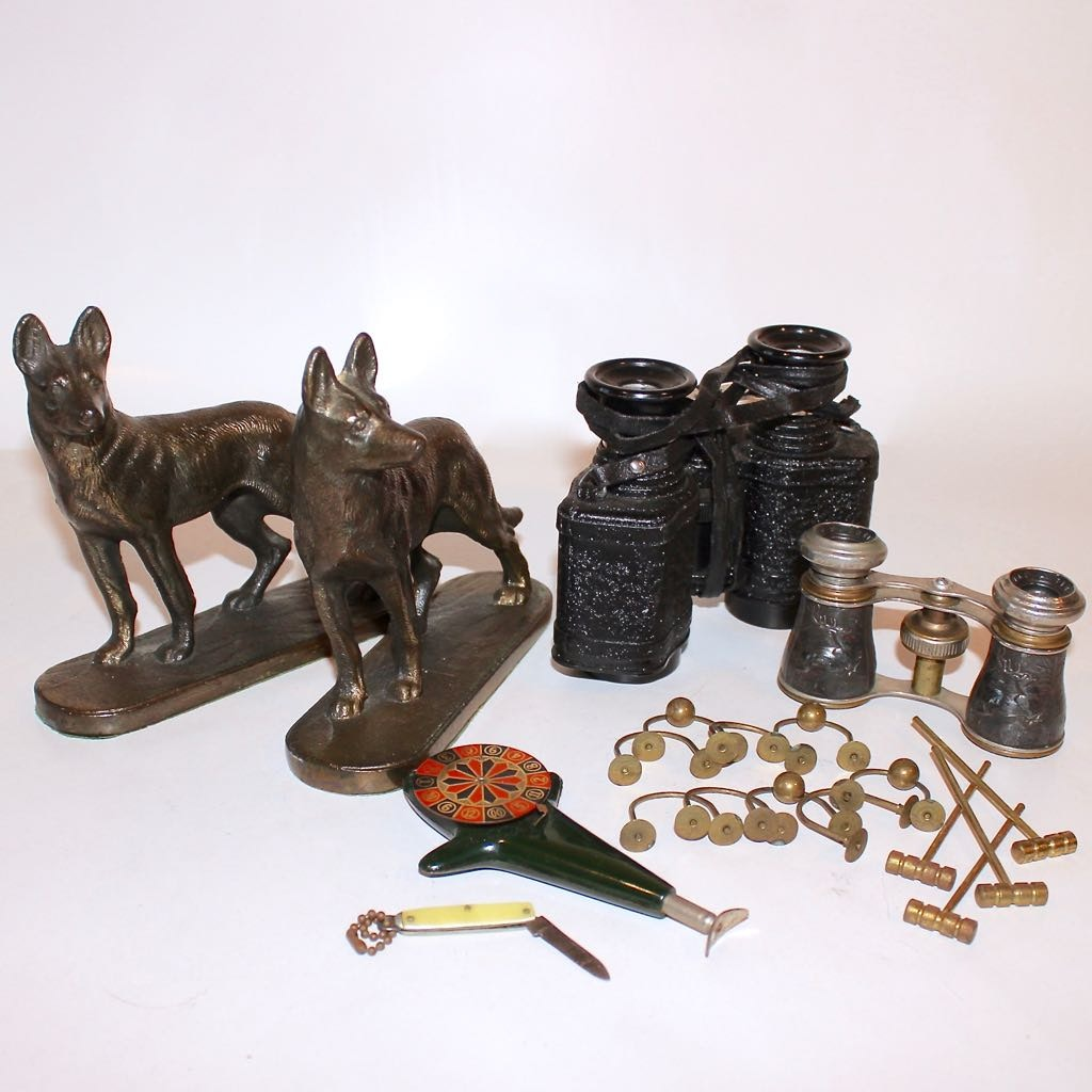 Vintage Collectibles, German Shepard Bookends, Opera Glasses