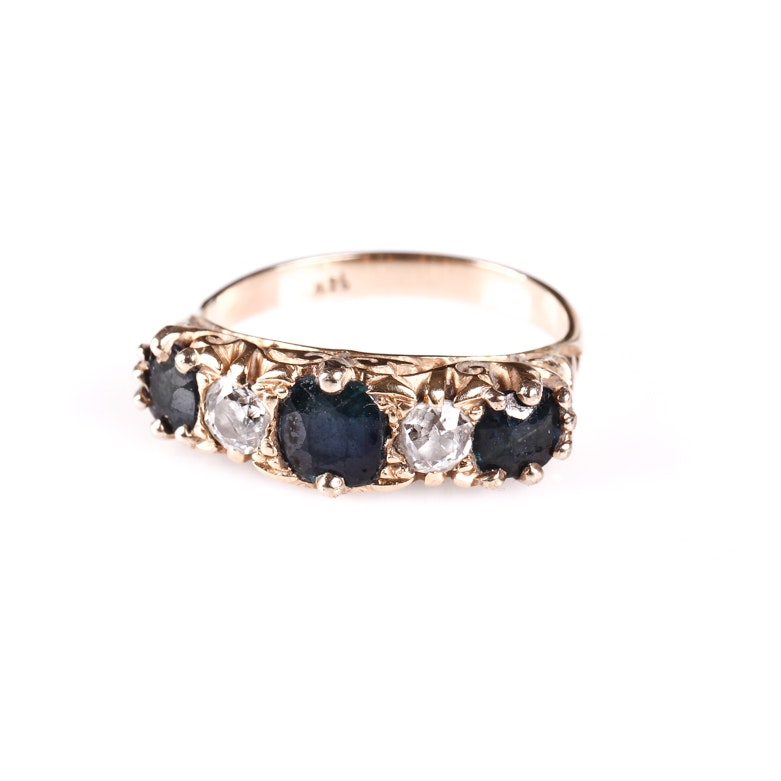 Edwardian 14K Yellow Gold, Old Mine Cut Diamond and Sapphire Ring