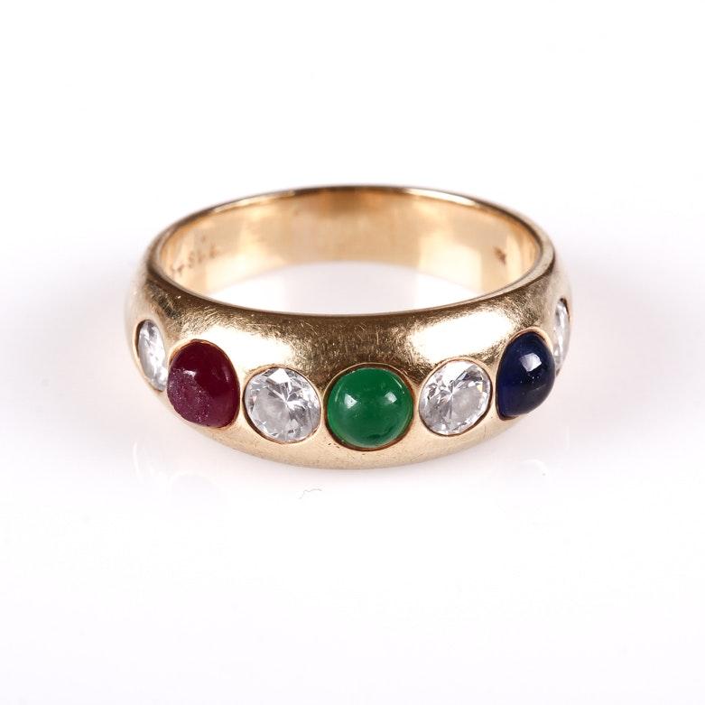 18K Yellow Gold, Diamond, Emerald, Sapphire and Ruby Band