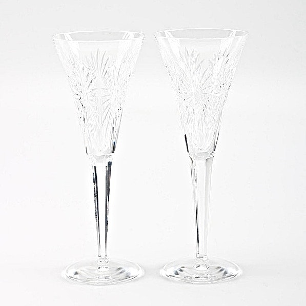"""Waterford Crystal """"Millennium Series"""" Champagne Flutes"""