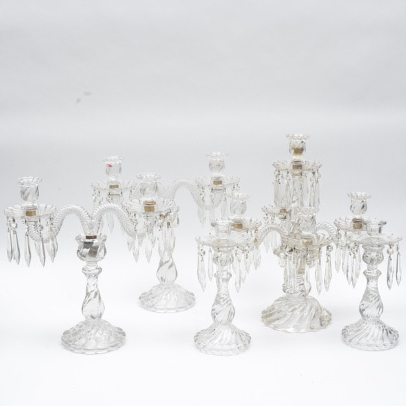 Assortment of Ornate Glass Candlesticks