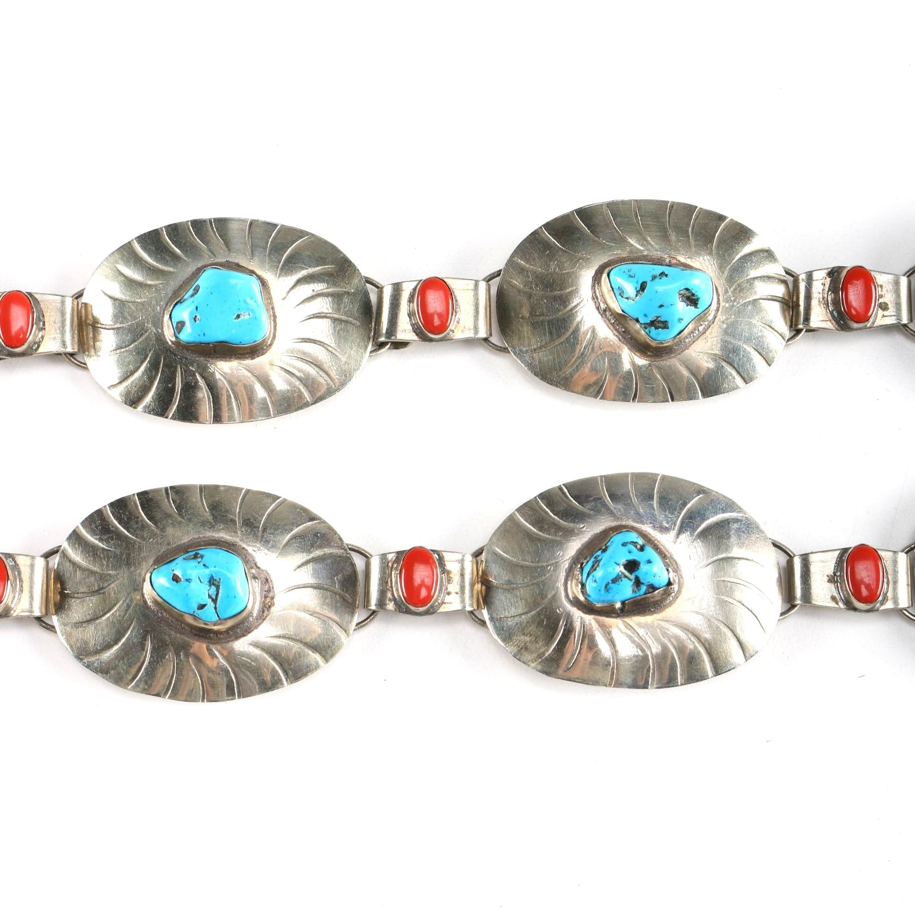 Turquoise and Carnelian Mexican Metal Belt