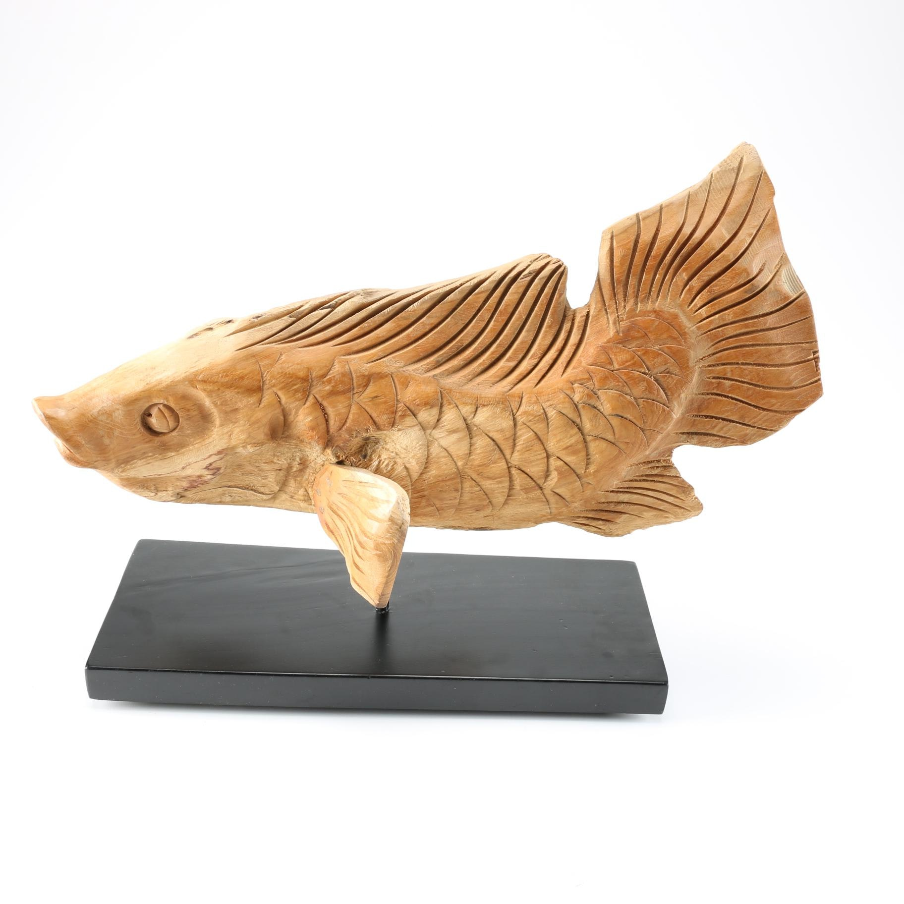 Hand Carved Teak Fish Sculpture