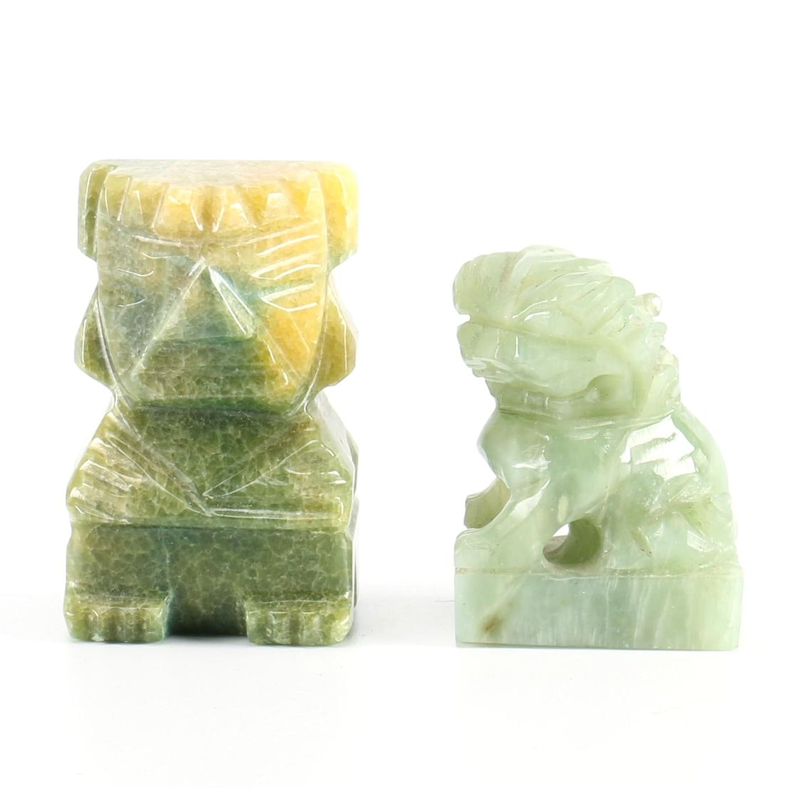 Bowenite and Dyed Agate Figurines
