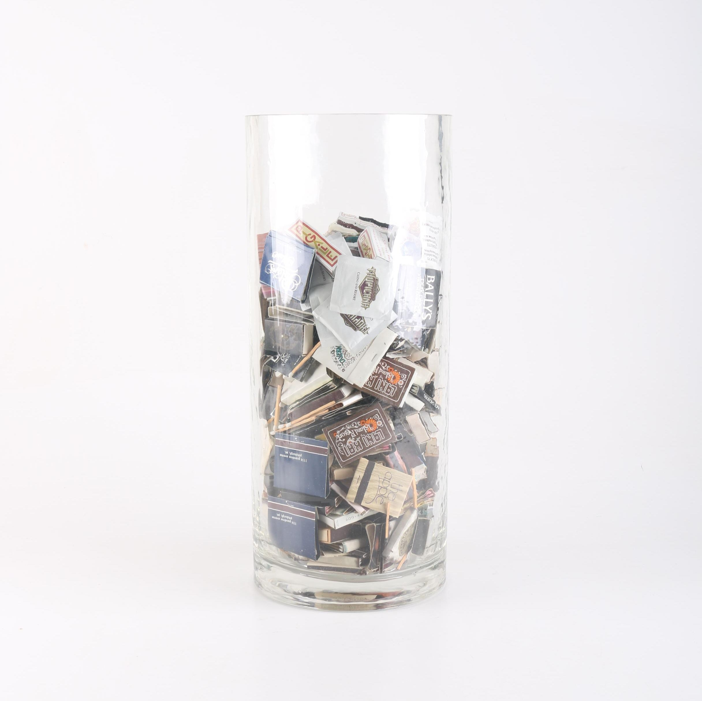 Glass Vessel Full of Collectible Matchbooks