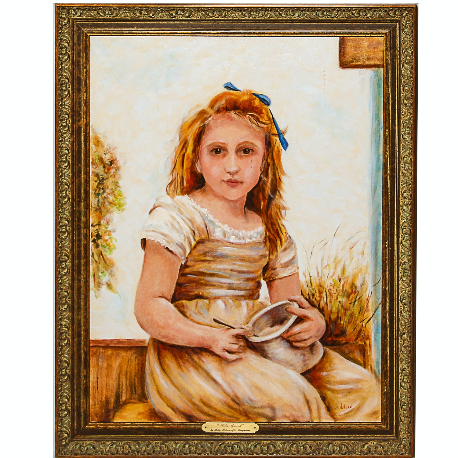 """Oil on Canvas Titled """"The Snack"""" by Betty Nelson after Bouguereau"""