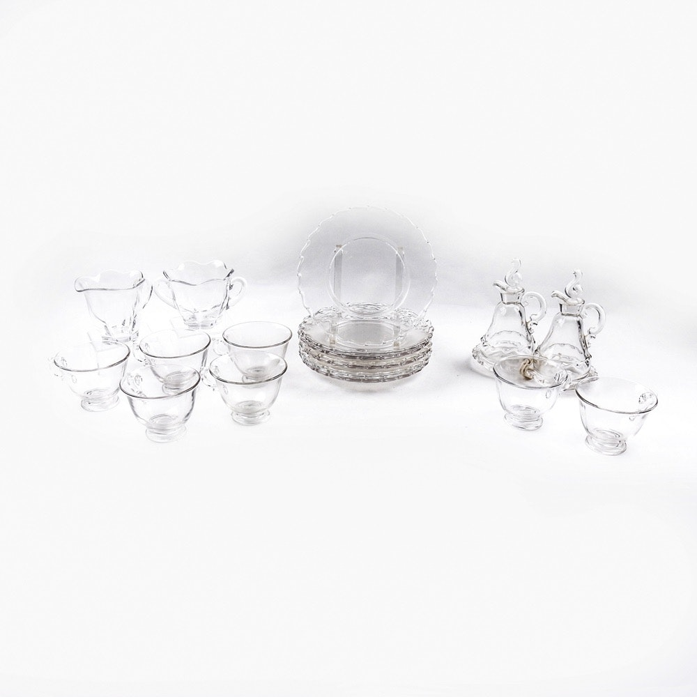 Vintage Glass Lunch and Snack Set