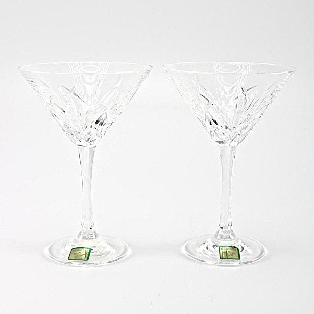 "Waterford Crystal """"Brookside"" Martini Glasses"