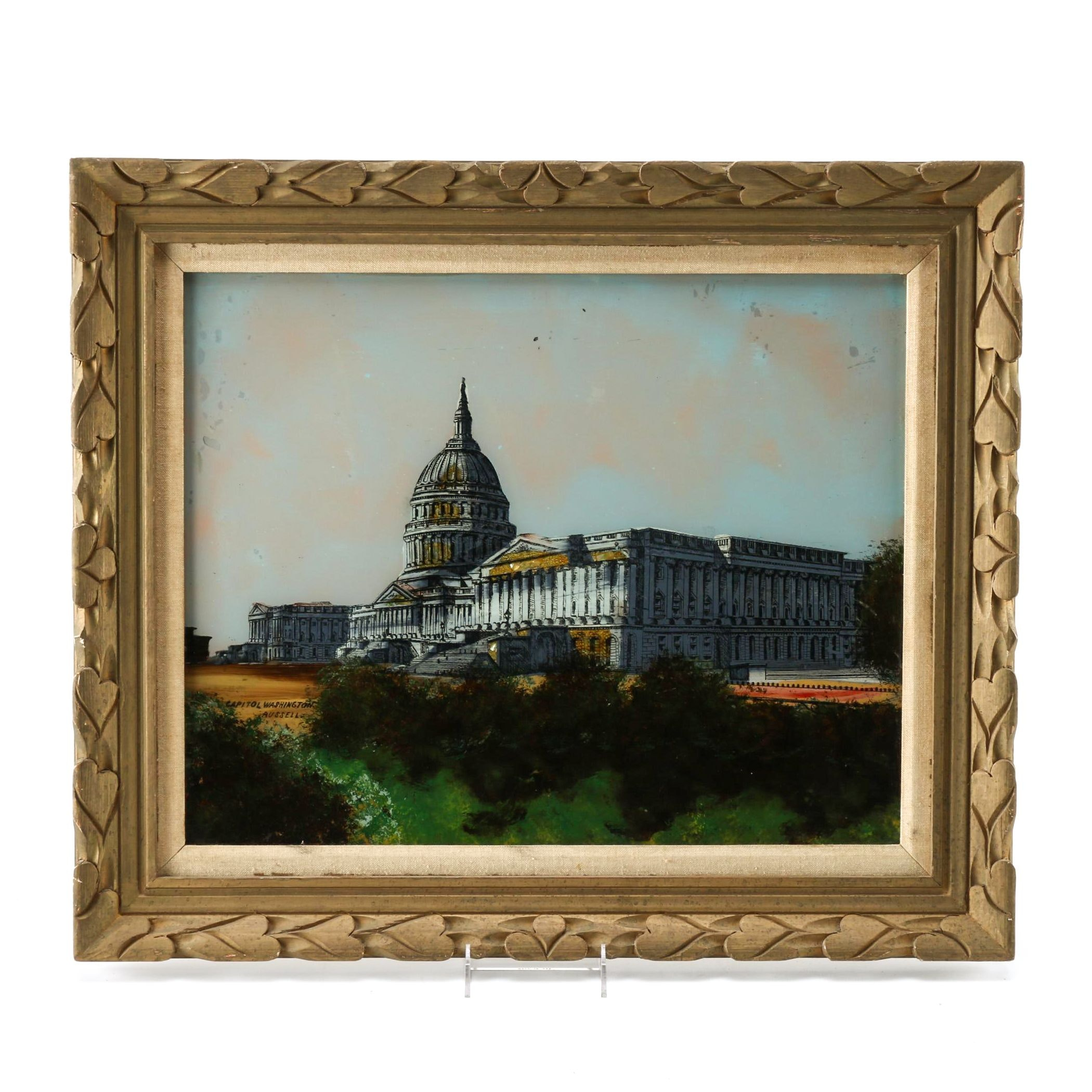 Mixed Media Painting on Glass of the Capitol Building