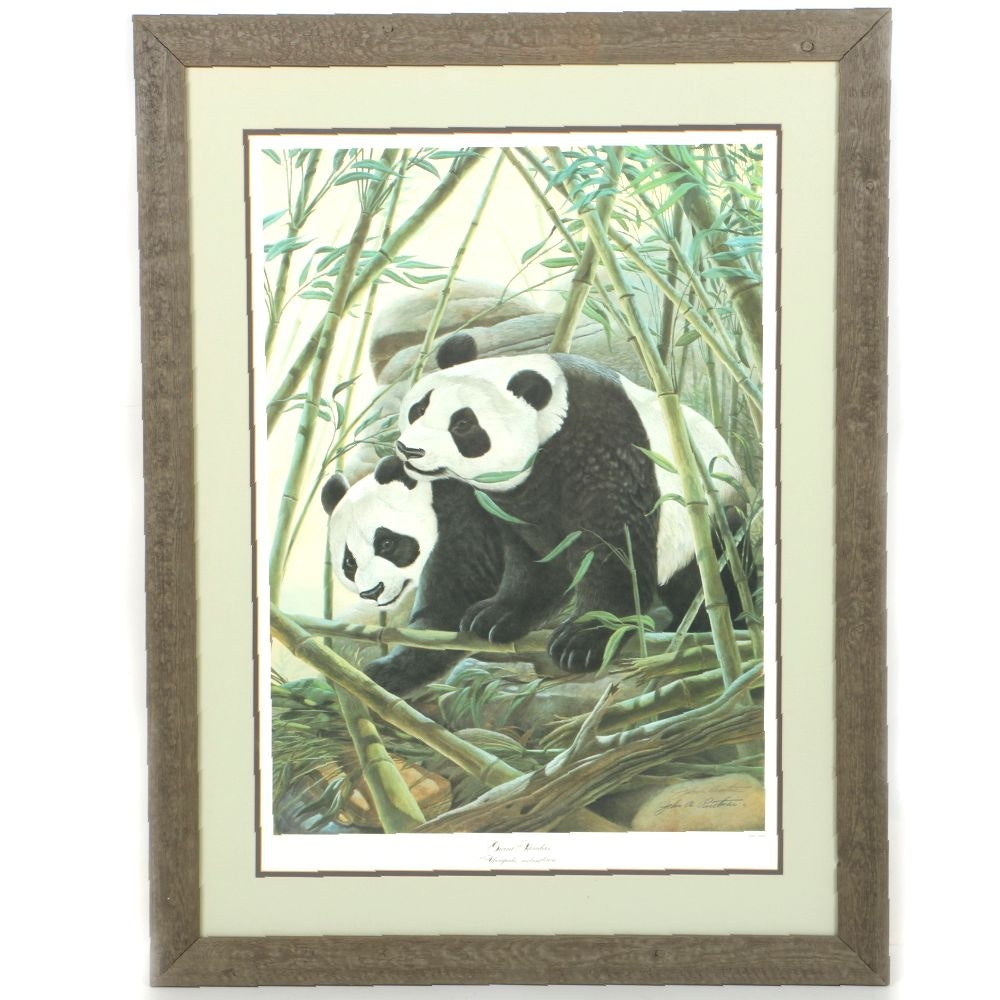 "John Ruthven Limited Edition Offset Lithograph ""Giant Pandas"""