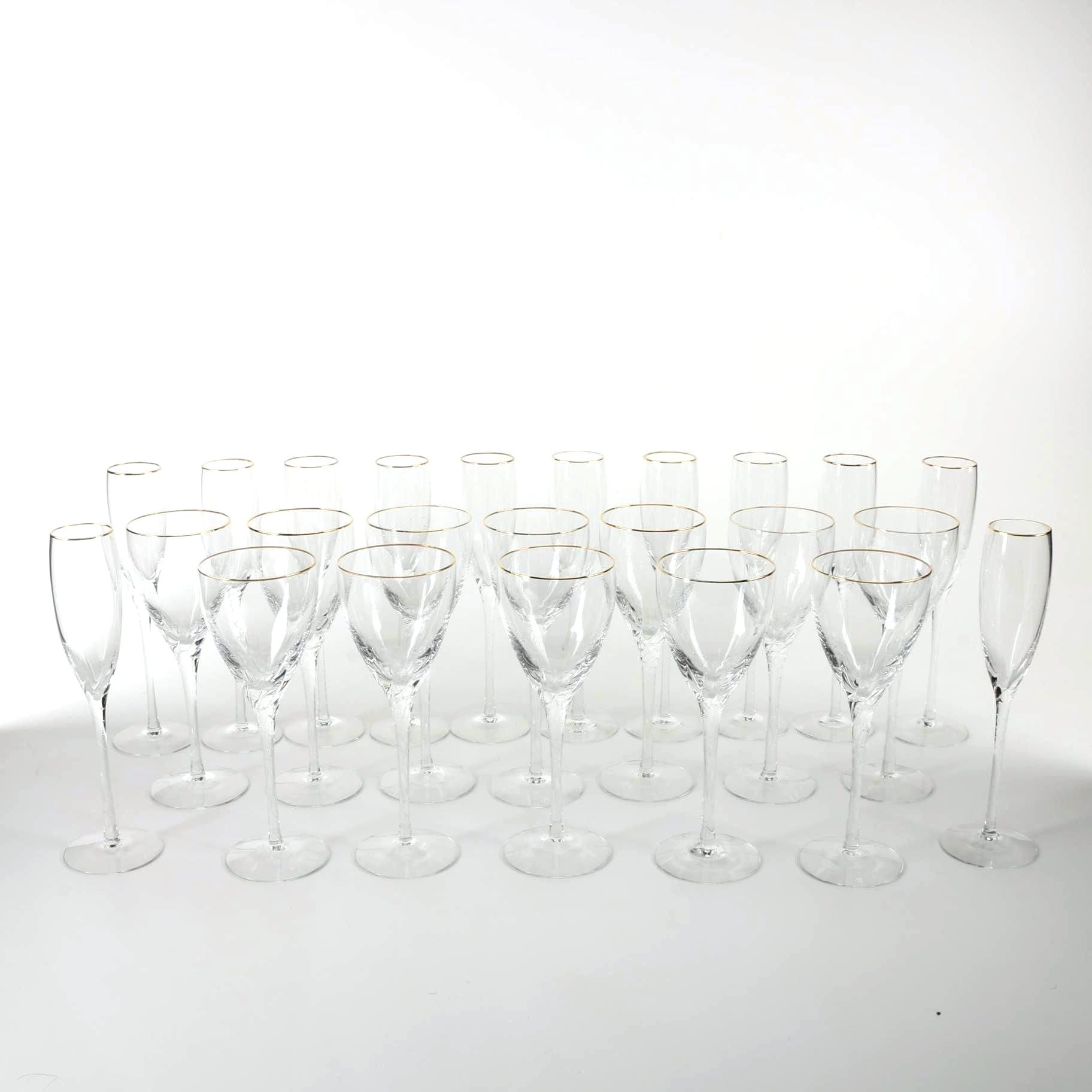 Lenox Crystal Wine Glasses With 24K Gold Rims