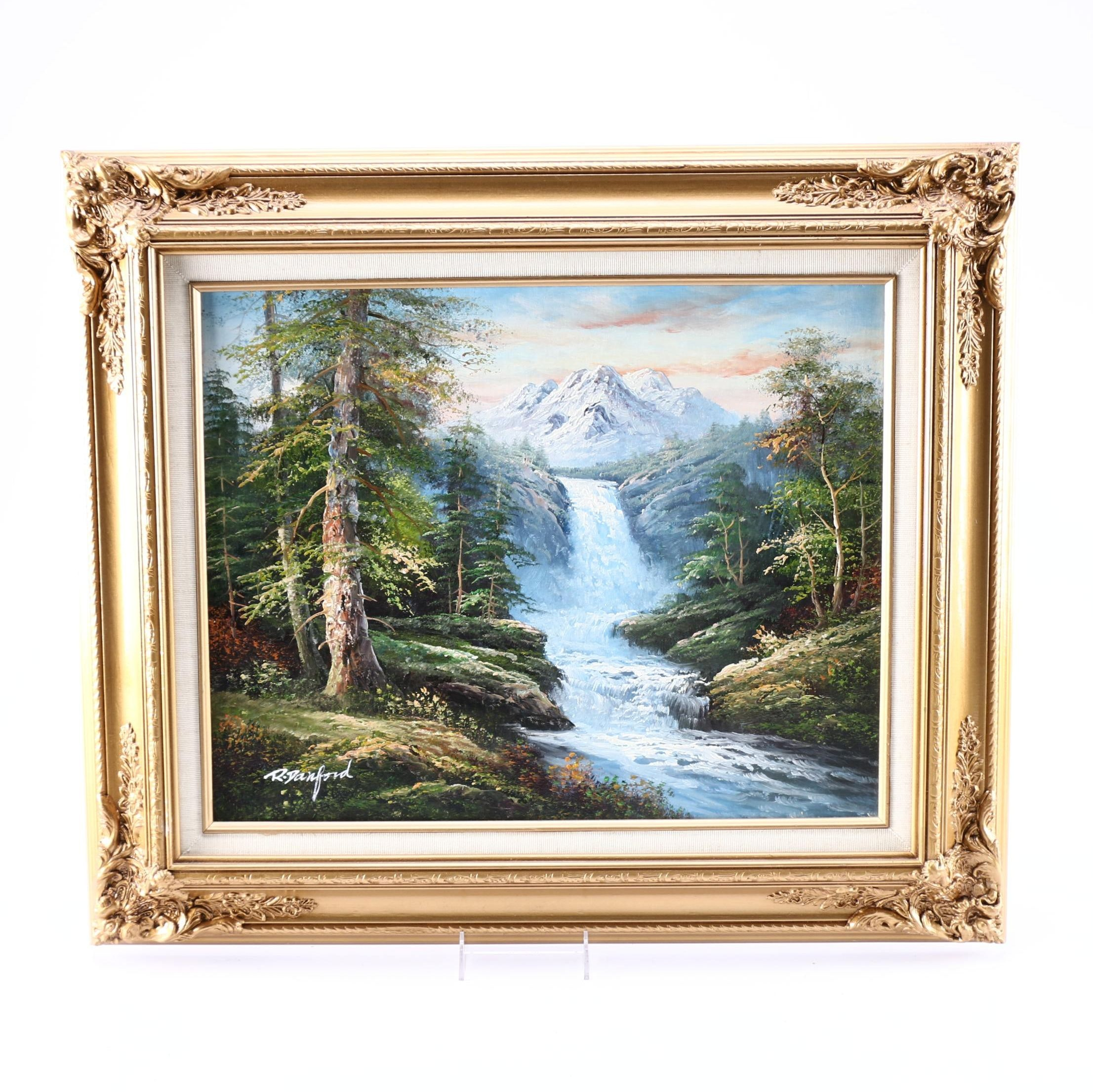 R. Danford Oil Painting on Canvas of a Waterfall in a Mountainous Landscape