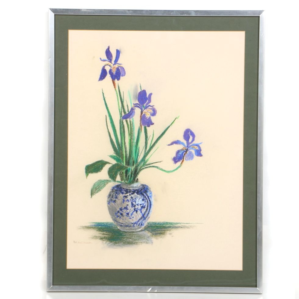 Ruth Van Z. Hamilton Pastel on Paper of Irises